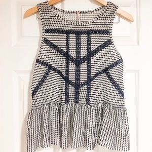 Free People lace peplum tank top in Navy and white